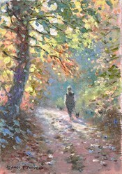 Walking the Dog by James Preston -  sized 6x8 inches. Available from Whitewall Galleries